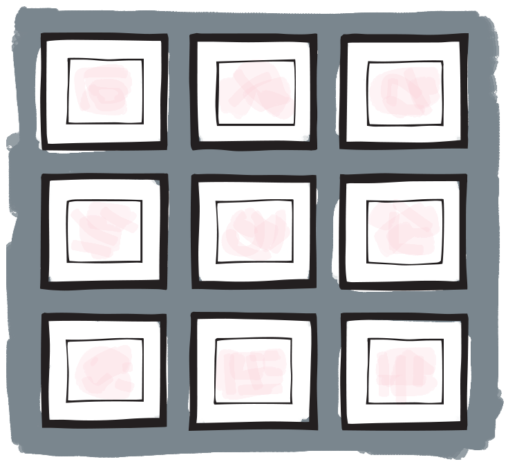 Illustration of a simple grid gallery wall