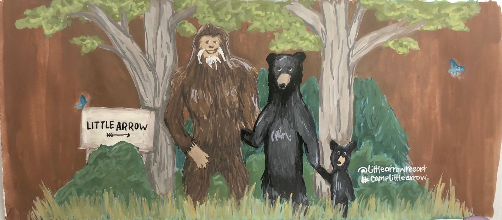 Concept art of Bigfoot with a Mama black bear with cub